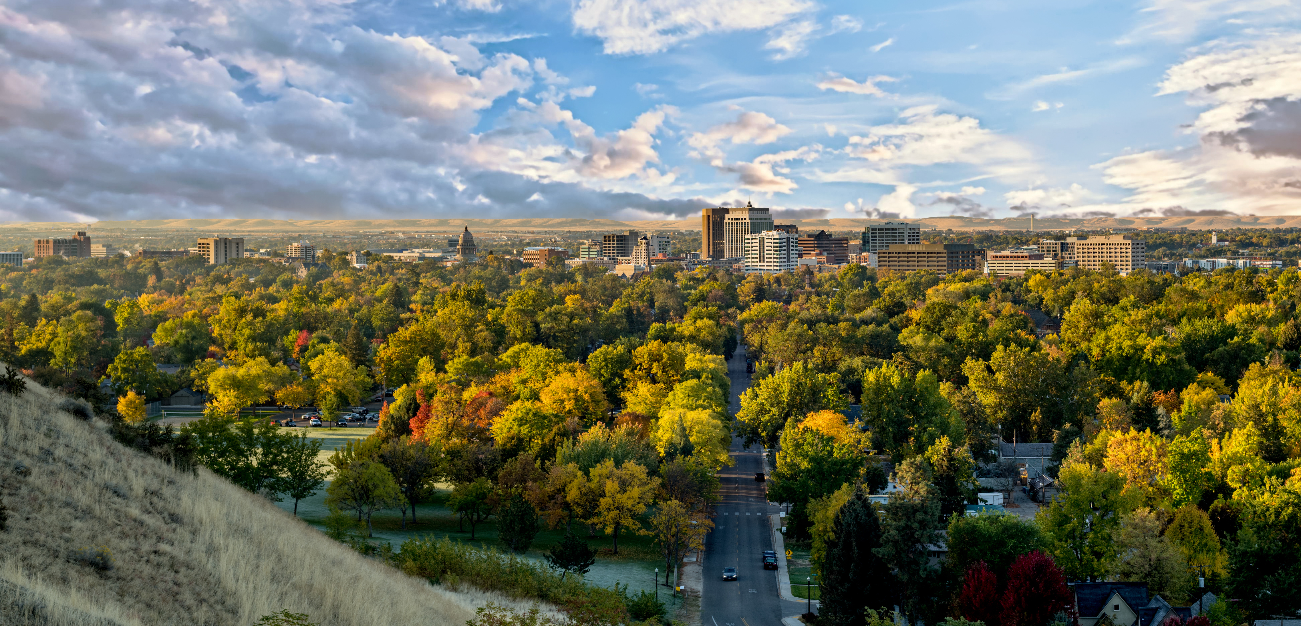Colorful fall trees and the skyline of Boise Idaho